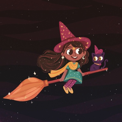 indian-witch-on-a-broom