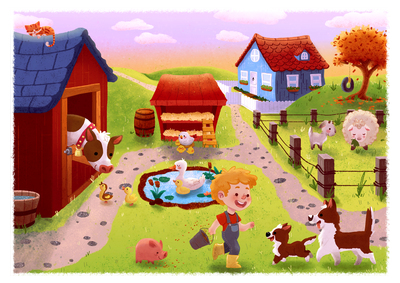 farm-animals-boy-sunrise-cow-ducks-pig-dogs-sheep-chickens-jpg