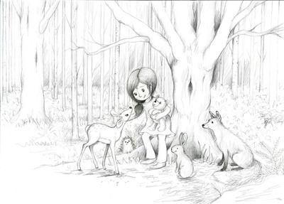 woodland-sketch-girl-with-animals-2018-lr-jpg