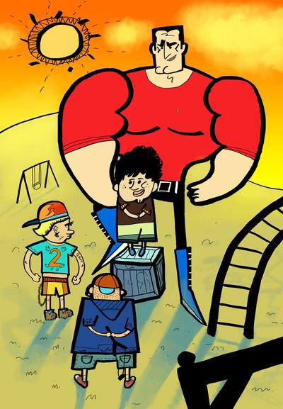 illustration-digitalart-digital-playground-superhero-children-saved-rogue-rascal-urchin-scamp-bounder-jpg