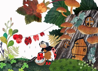 ladybug-berries-stump-leaves-jpg