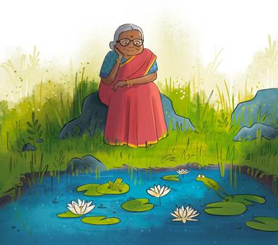indian-village-grandma-lily-pond-saree-jpg