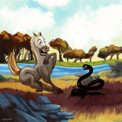 horse-snake-landscape-river-afraid-fear-frighten-trees-forest-woods-animals-farm-by-evelt-yanait-jpg