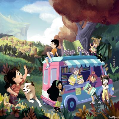 library-van-books-reading-kids-playing-car-truck-road-roadtrip-by-evelt-yanait-jpg