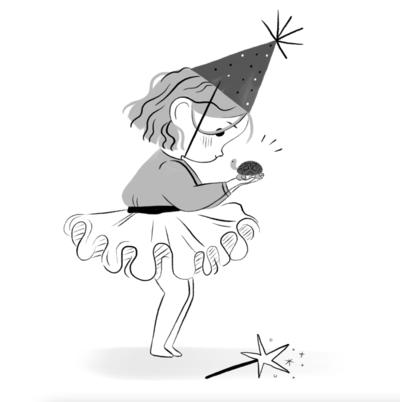 girl-turtle-blackandwhite-linework-wand-hat-jpg