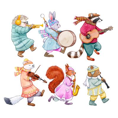 anthro-animal-hedgehog-rabbit-badger-hermelin-squirrel-bear-marching-band-music-instruments-winter-animal-jpg