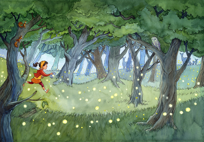 forest-girl-summer-night-firefly-glow-worms-animals-trees-jpg