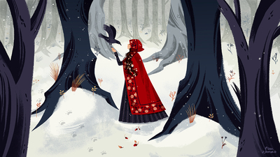 song-single-cover-girl-forest-fairy-tales-raven-little-red-riding-hood-jpg