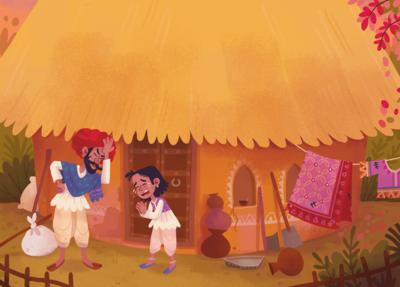 indian-farmer-boy-poor-snake-gold-farm-folktale-fable-hut