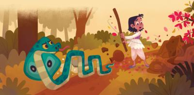 indian-farmer-boy-poor-snake-gold-anthill-farm-folktale-fable-hut-png