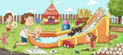 kids-summer-family-dog