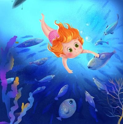 girl-sea-fish-swim